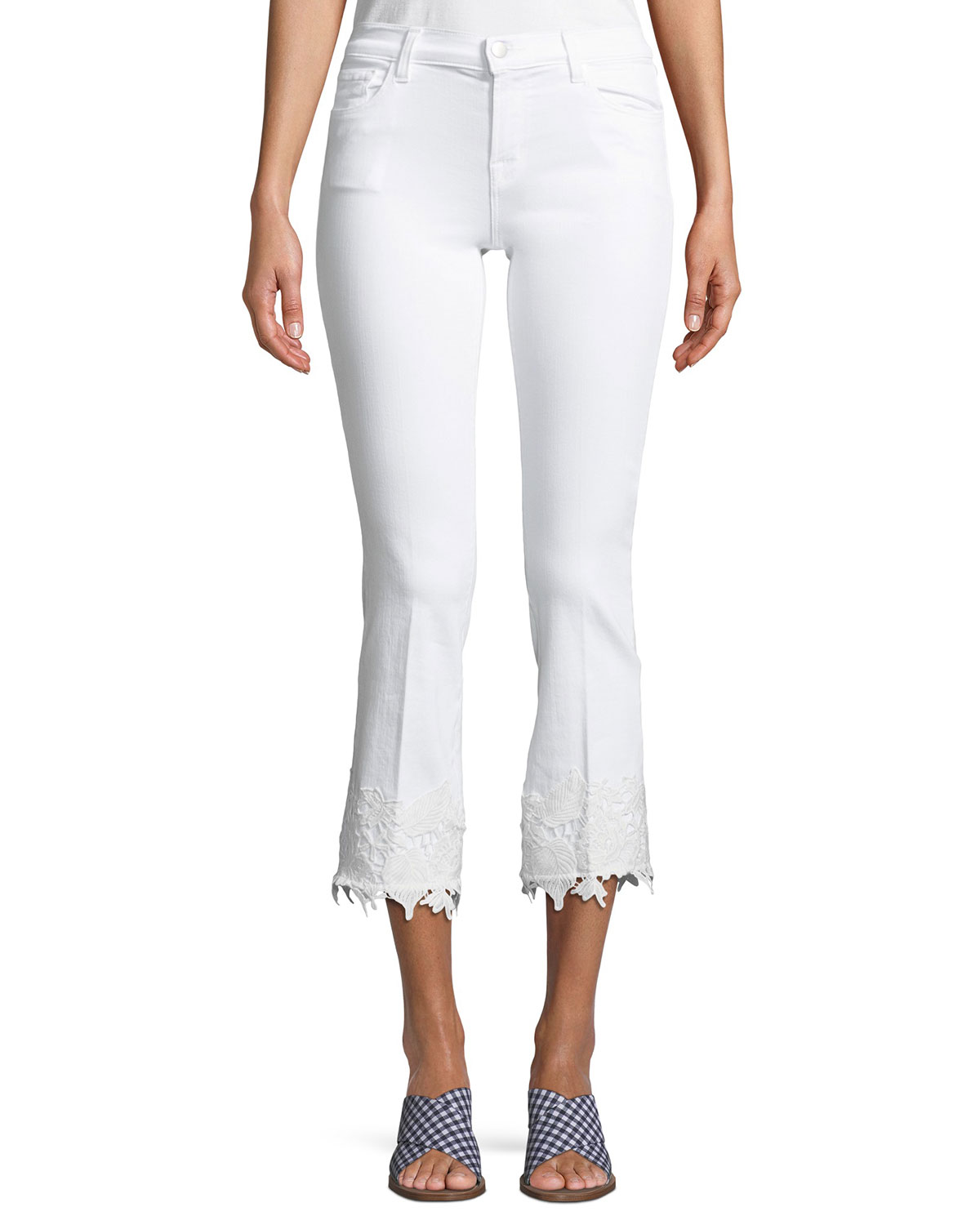 Selena Mid-Rise Crop Boot Jeans With Lace Hem, White Lace