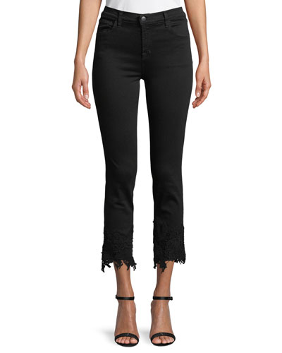 Ruby High-Rise Crop Cigarette Jeans with Lace Hem
