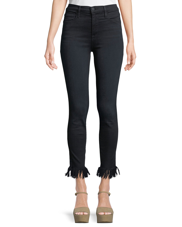 Ali High-Rise Skinny-Leg Jeans w/ Fray Hem