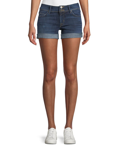 Croxley Mid-Rise Denim Shorts with Flap Pocket
