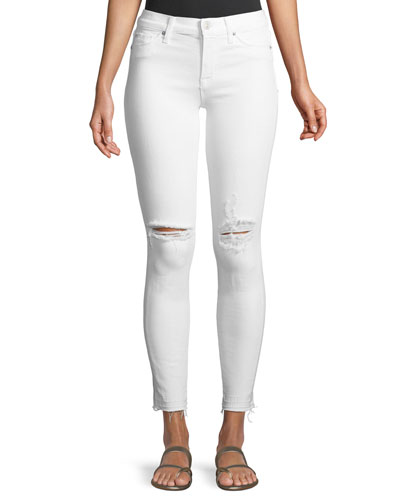 Nico Mid-Rise Skinny Ankle Jeans with Raw Hem