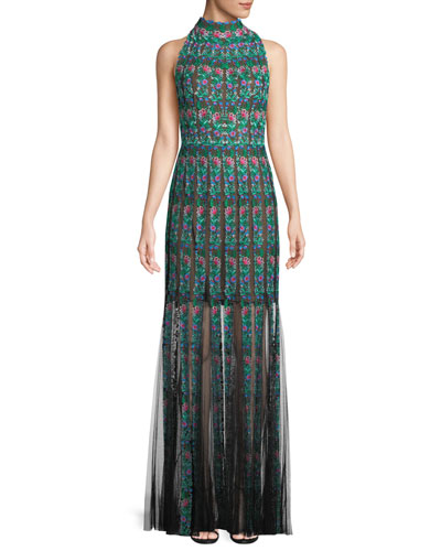 Embroidered Sleeveless Lace Gown w/ Floral Motif
