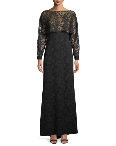 Embroidered Lace & Crepe Popover Gown