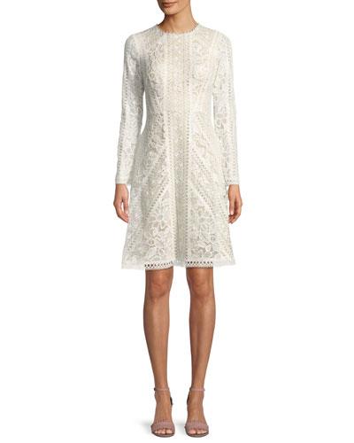 Crotchet Lace Long-Sleeve Dress