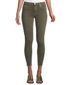 Barbara High-Waist Super-Skinny Ankle Jeans with Raw Hem
