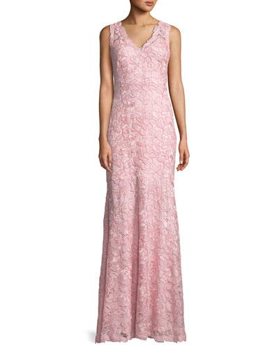 V-Neck Sleeveless Lace Appliqué Dress