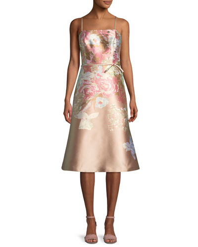 Metallic Floral Sleeveless Cocktail Dress