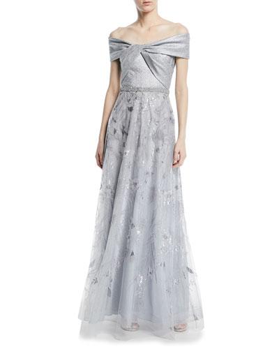 Jacquard Portrait Off-the-Shoulder Lace Gown