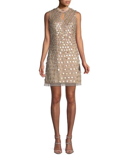Embellished Sleeveless Keyhole Mini Dress