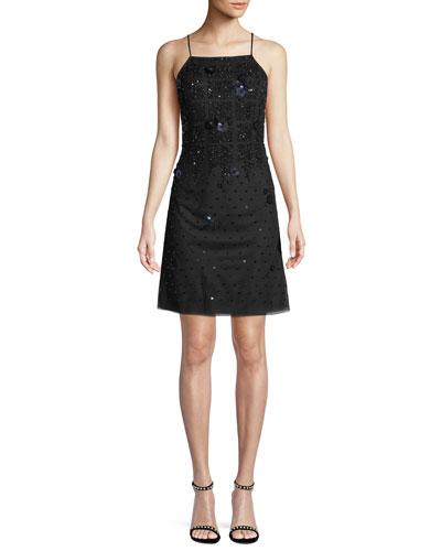 Sleeveless Embellished Mini Cocktail Dress