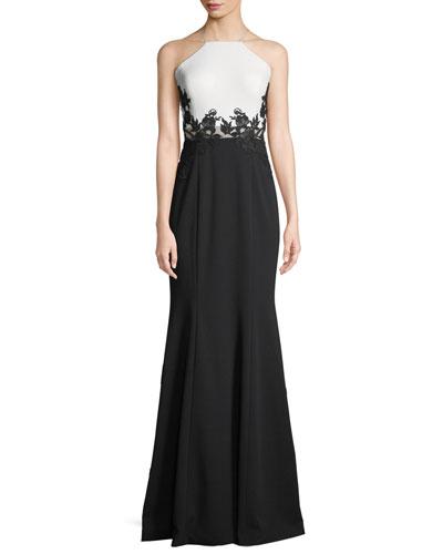 Colorblock Scuba Crepe Gown w/ Lace Appliqué