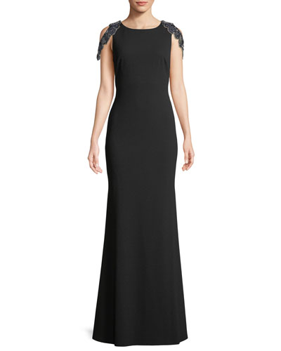Jersey Gown w/ Back Beaded Fringe
