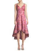 Sleeveless Floral Dress w/ High-Low Skirt