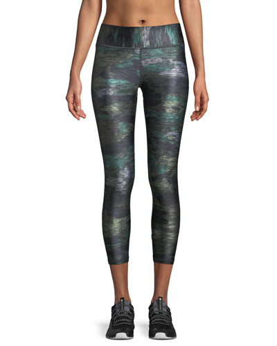 Heathered Camo Tall Band Capri Leggings