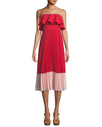 Strapless Colorblock Popover Pleated Crepe Dress