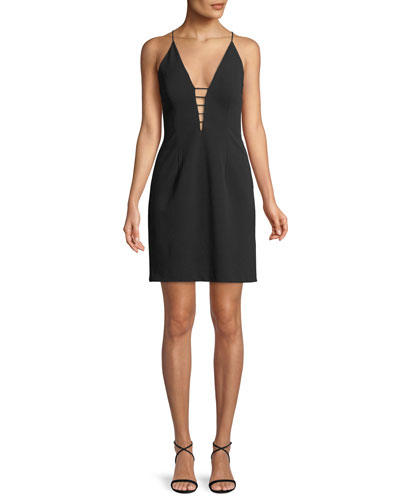 Plunging Scuba Crepe Mini Dress w/ Strappy Back