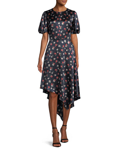 Cynthia Floral-Print Silk-Stretch Dress