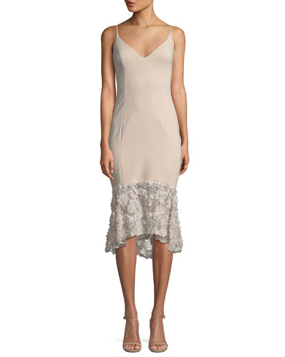 Milly Sleeveless Tea-Length Dress w/ Lace Bottom