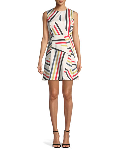 Alexa Directional-Striped Shift Dress