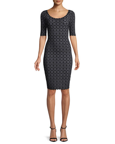 Laser-Cut Pointelle Sheath Dress