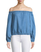 Off-the-Shoulder Blouson-Sleeve Chambray Top