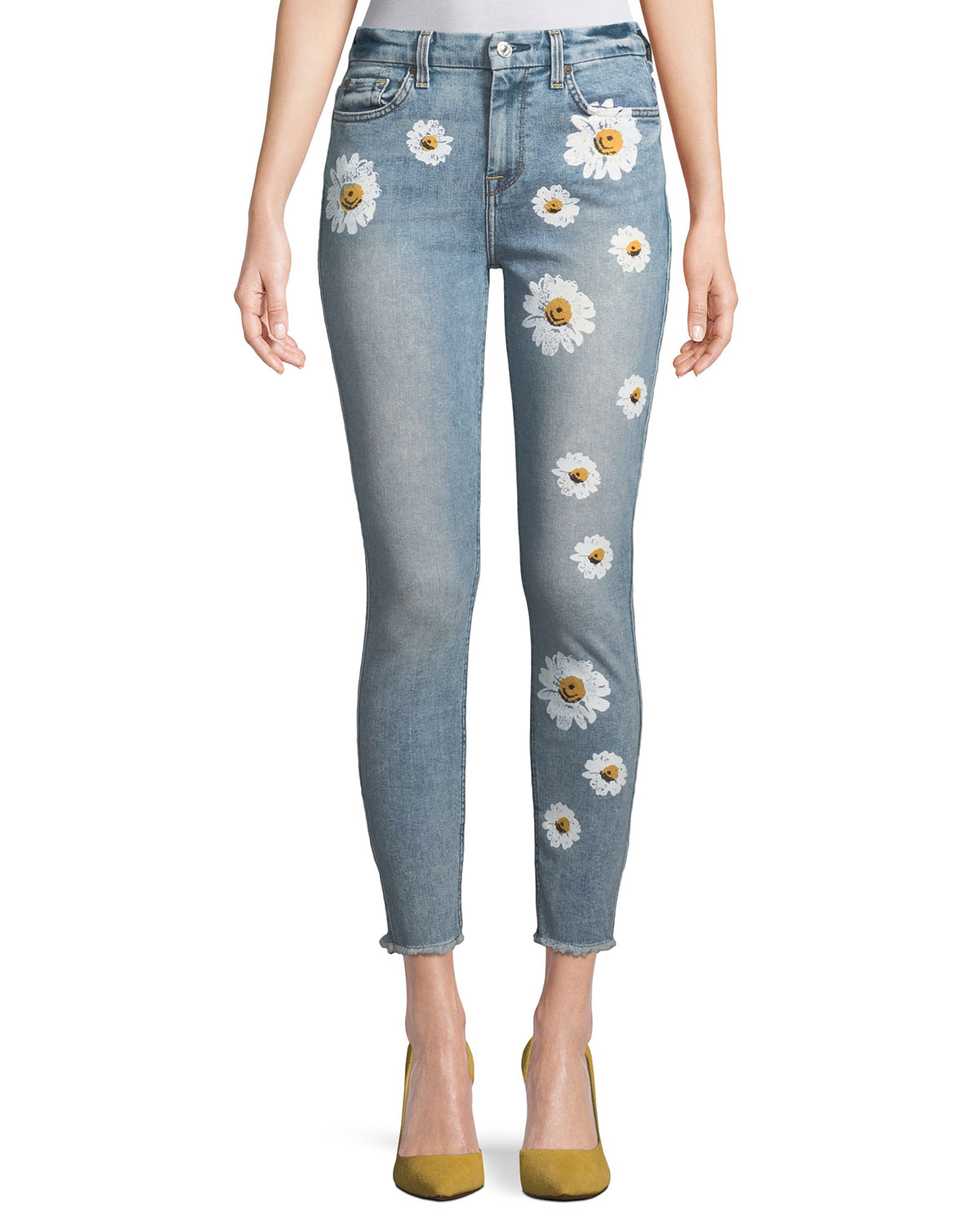 High-Rise Ankle Skinny Jeans w/ Daisy Floral-Print & Raw-Hem