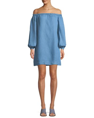 Off-the-Shoulder Blouson-Sleeve Chambray Short Dress