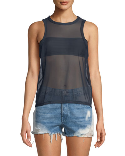 Sheer Crewneck Muscle Tank Top