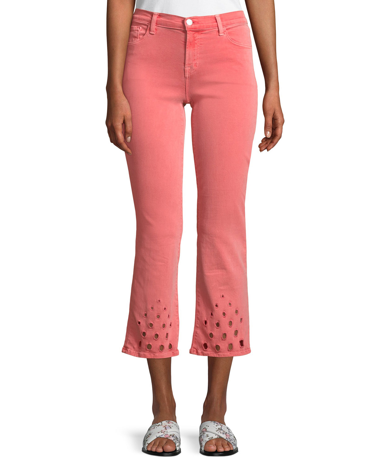 Selena Mid-Rise Crop Boot Jeans With Lace Hem in Light Orange
