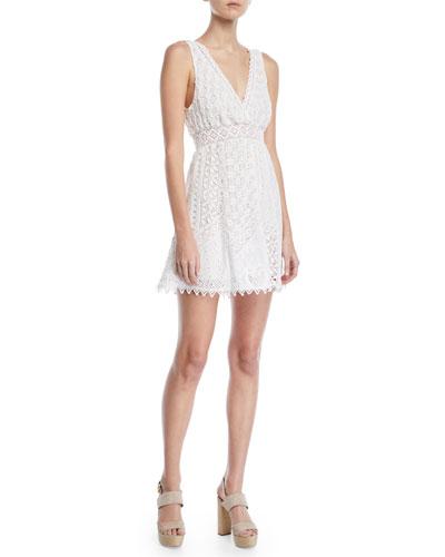City Slicker Sleeveless Cotton Eyelet Mini Dress