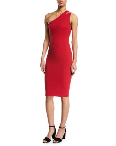 Sidewinder One-Shoulder Knee-Length Dress