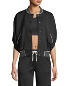 Butterfly Snap-Front Short-Sleeve Bomber Jacket