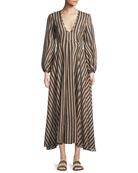 Jaya Plunge Long Striped Cotton Dress