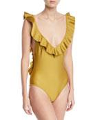 Jaya V-Plunge Flounce Solid One-Piece Swimsuit