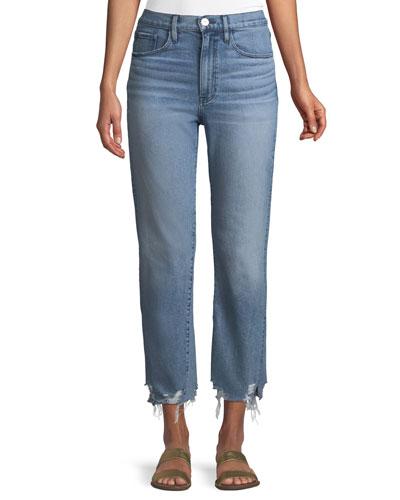 W4 Relaxed Straight-Leg Crop Jeans w/ Split Hem