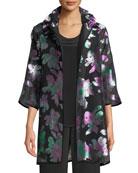 Passion Flower Devore Silk-Blend Topper, Plus Size