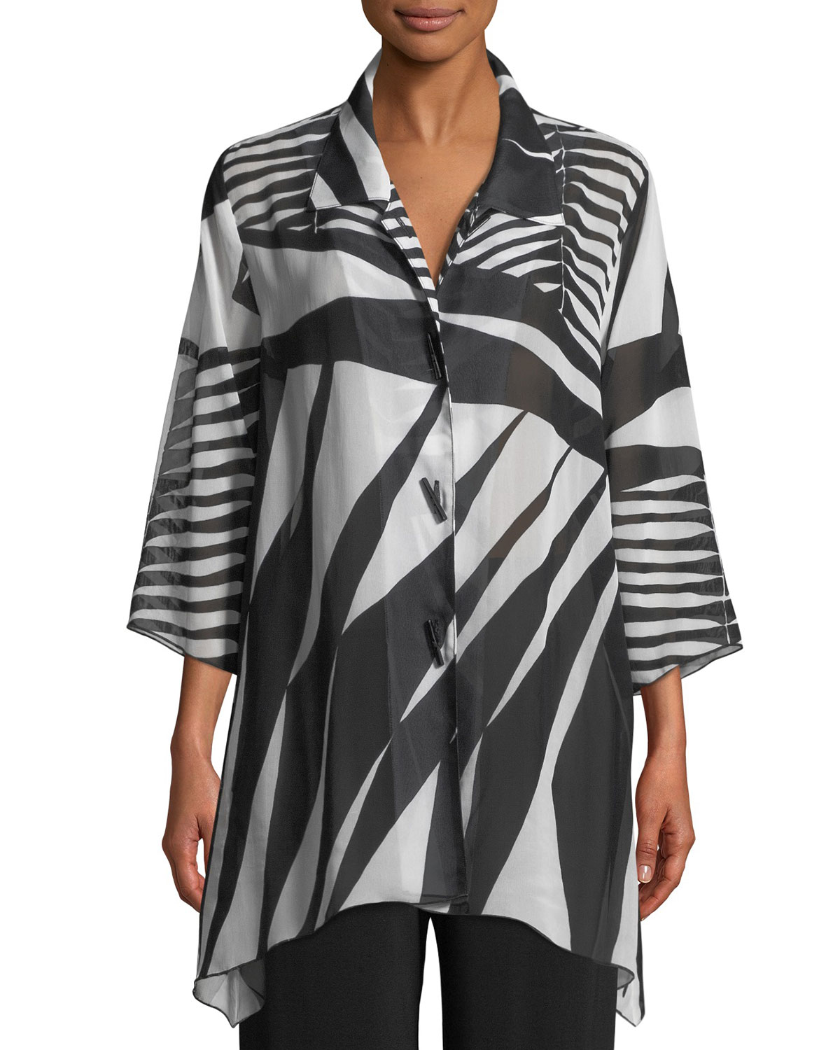 Gone Wild Side-Fall Georgette Shirt, Plus Size