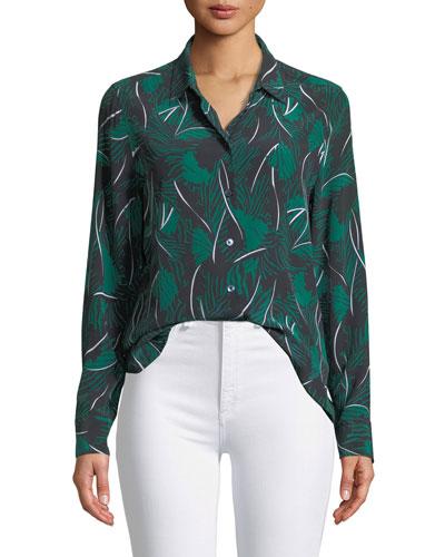 Essential Palm Leaf-Print Silk Shirt