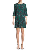 Aubrey Palm Leaf-Print 3/4-Sleeve Silk Dress