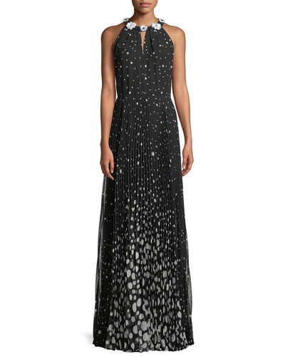 Polka Dot Halter Gown w/ Beaded Trim
