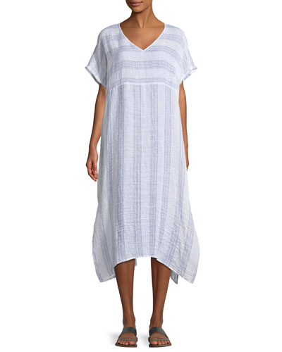 Gauze Striped Organic Linen V-Neck Dress, Petite