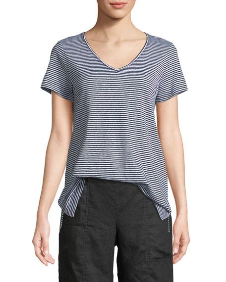 Eileen Fisher Organic Linen Striped Jersey Top
