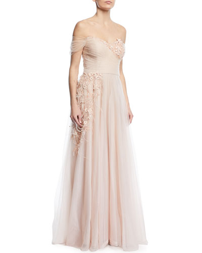 Detailed Off-the-Shoulder Gown
