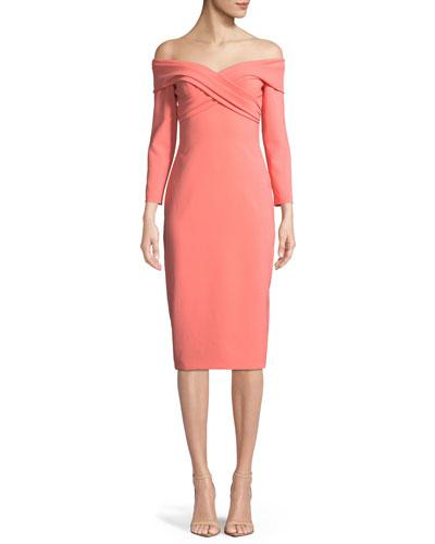 Crisscross Off-the-Shoulder 3/4-Sleeve Sheath Cocktail Dress