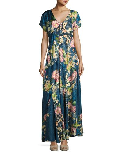 Timmie Short-Sleeve Floral-Print Maxi Dress, Petite