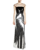 Dija Two-Tone Sequin Illusion Gown