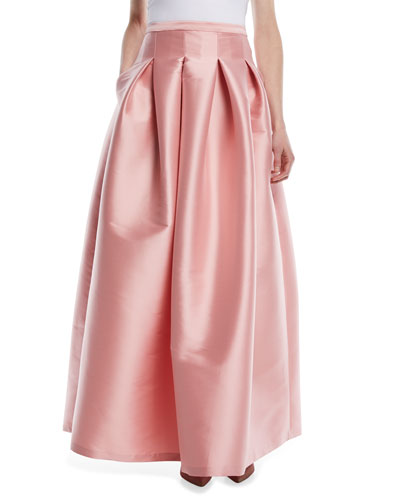Kennedy Long Pleated Taffeta Ball Skirt