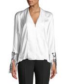 Valens Silk Top w/ Sequin Cuffs