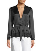Tomlin V-Neck Long-Sleeve Satin Silk Shirt