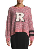 "Halstead Crewneck Marled Knit Sweatshirt with ""R"" Varsity Patch"